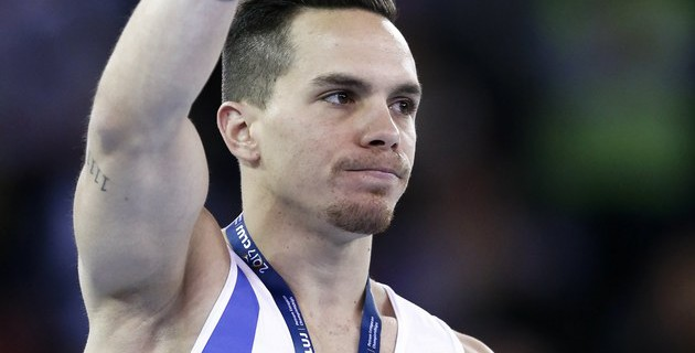 epa05921250 Eleftherios Petrounias of Greece poses with his gold medal on the podium after the men's rings final during the 2017 Artistic Gymnastics European Championships, Apparatus Finals, at Polivalenta Sports Hall in Cluj-Napoca, Romania, 22 April 2017.  EPA/ROBERT GHEMENT